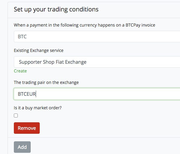 Set Trading Conditions at BTCpay Transmuter