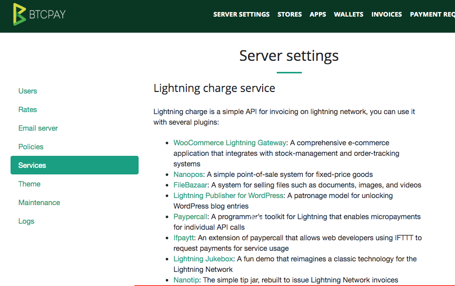 Lightning Charge Services from C-Lightning