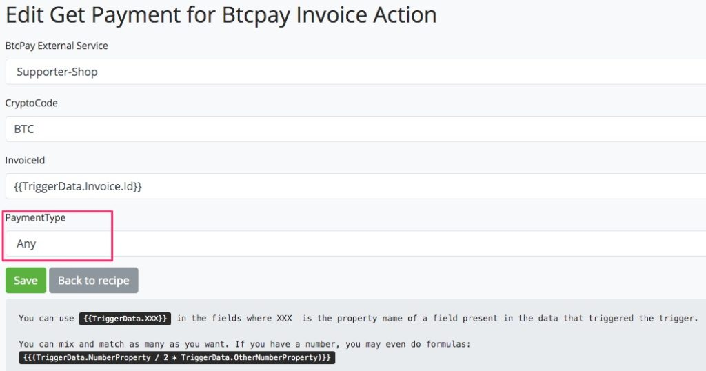 Inquiry by invoice at BTCPay Transmuter