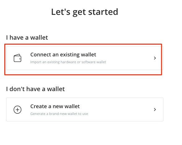connect an existing wallet